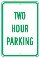 2hr parking sign