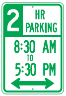 2hr parking times sign