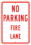 fire lane redwhite sign