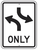 left turn only sign