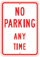 no parking any time red sign