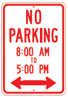 no parking times sign