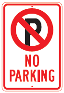 parking symbol red white