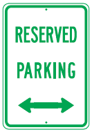reserved parking arrows sign