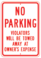 violators towed sign