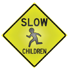 slow children diamond sign