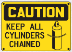 keep cylinders chained sign
