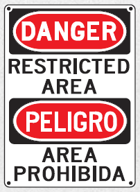 danger restricted area sign