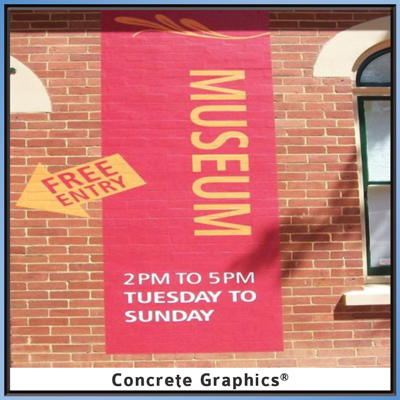 Museum Promotion with Concrete Graphics on Wall